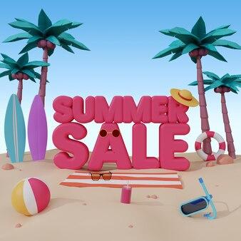 여름 판매를위한 3d 렌더링 배너 서식 파일