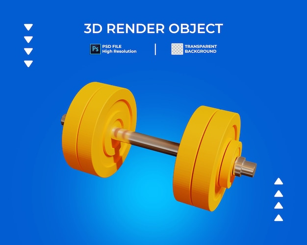 3d render of barbell icon isolated