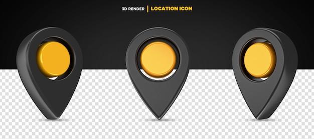 3d визуализация черный и желтый значок местоположения изолированы