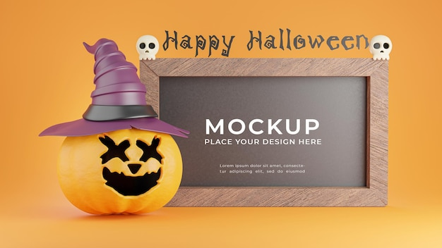 3d render of black board with halloween concept for product display