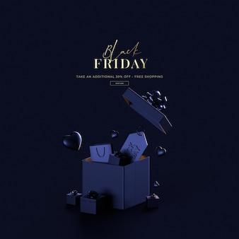 3d визуализация черная пятница продажа на синем фоне роскошный торговый объект