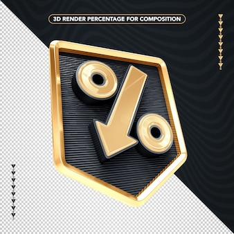 3d render black and gold percentage isolated