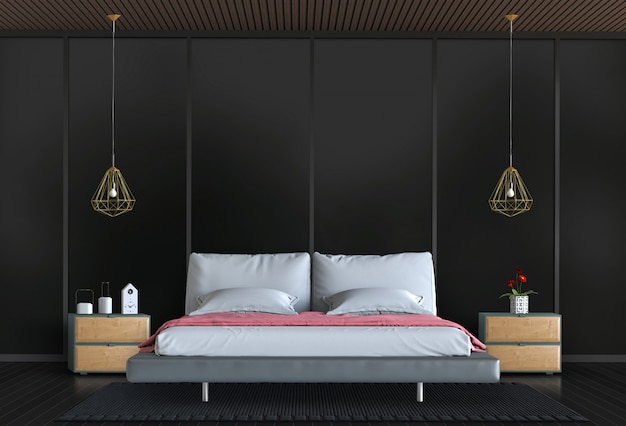 3d render of black interior bedroom with decorations.