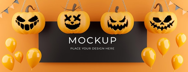 3d render of black poster with halloween discount concept,pumpkin,balloons,for product display