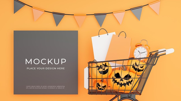 3d render of black poster with halloween shopping concept