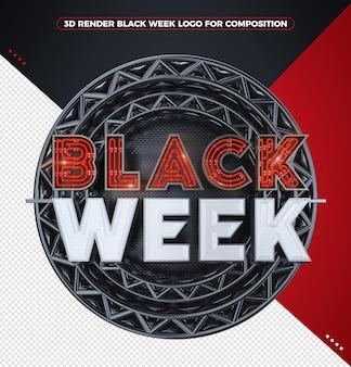 3d визуализация черная неделя логотип с красным неоном