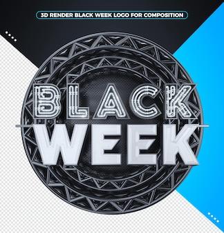3d визуализация черная неделя логотип с белым неоном
