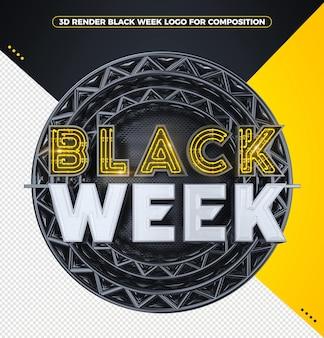 3d визуализация черная неделя логотип с желтым неоном