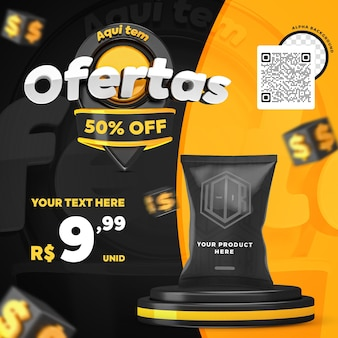 3d render black and yellow here have offers promotion instagram social media post template