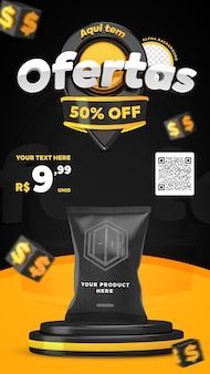 3d render black and yellow here have offers promotion instagram stories social media post template