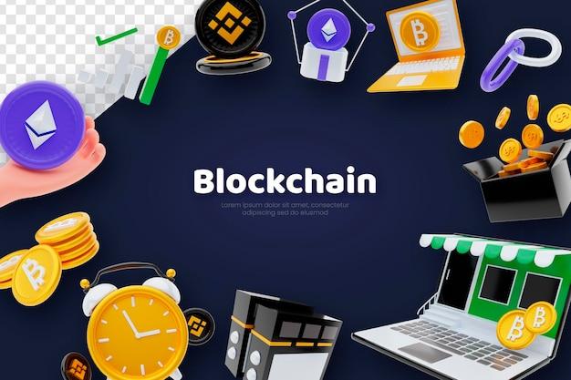 3d визуализация концепции фона блокчейна