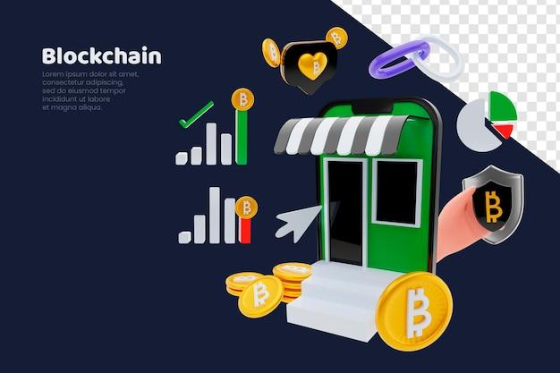 3d визуализация концепции телефона валюты блокчейн