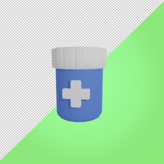 3d визуализация синий медицинский значок бутылки медицины