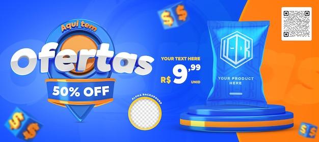 3d render blue and orange here have offers promotion banner social media post template
