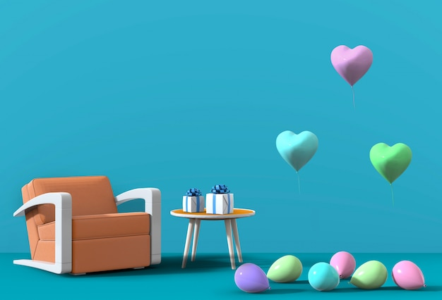 3d render of blue studio with armchair, balloon.