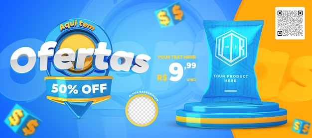 3d render blue and yellow here have offers promotion banner social media post template