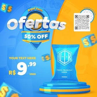 3d render blue and yellow here have offers promotion instagram social media post template