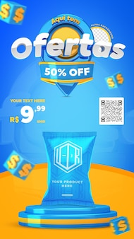 3d render blue and yellow here have offers promotion instagram stories social media post template