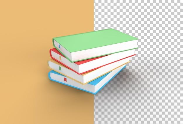 3d-рендеринг книг стопка обложек для книг красочная закладка для учебников