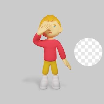 3 d レンダリングの少年キャラクターが泣いている