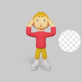 3 d レンダリング少年キャラクターめまい