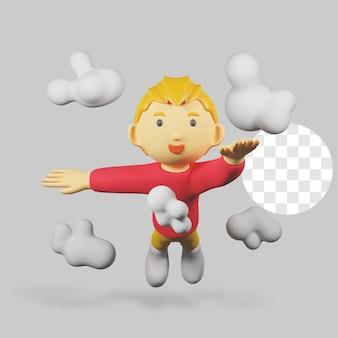 3 d レンダリングの少年のキャラクターが雲と飛ぶ