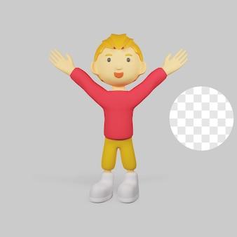 3 d レンダリングの男の子のキャラクターが幸せ