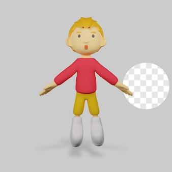 3 d レンダリング少年キャラクター ジャンプ