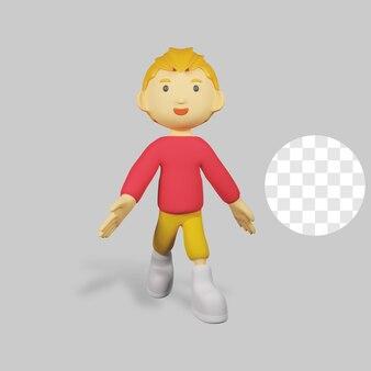 3 d レンダリングの少年のキャラクターが歩く