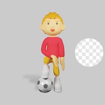 ボールを持った 3 d レンダリングの少年キャラクター Premium Psd