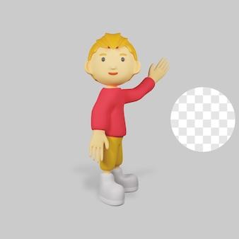 挨拶をする 3 d レンダリングの少年キャラクター