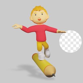鉛筆で 3 d レンダリングの少年キャラクター