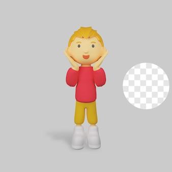 3 d レンダリングの少年キャラクターのポーズ