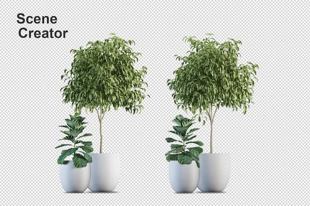 3d визуализация кисти дерево, изолированные на белом фоне