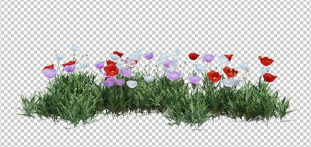 分離された花を持つ3 dレンダリングブッシュ