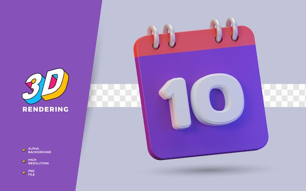 일일 알림 또는 일정을 위한 10일의 3d 렌더링 달력