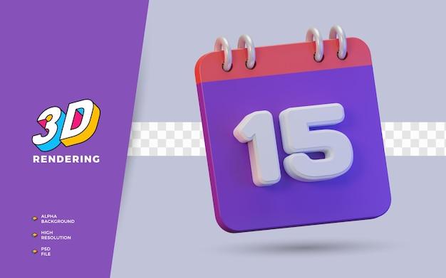 일일 알림 또는 일정을 위한 15일의 3d 렌더링 달력