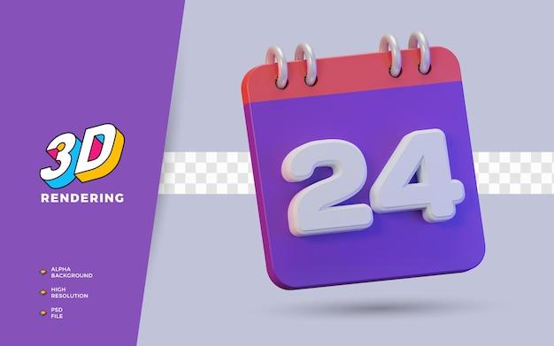 일일 알림 또는 일정을 위한 24일의 3d 렌더링 달력