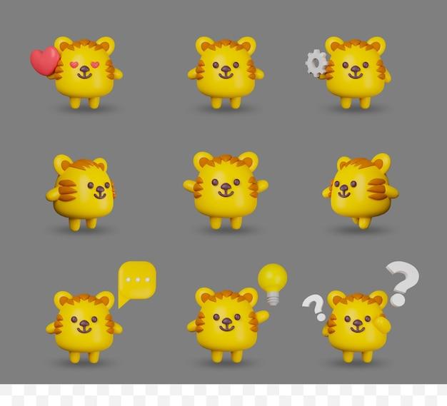 3d 렌더링 만화 아기 호랑이 포즈로 설정