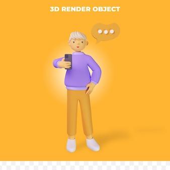 3d визуализация мультипликационный персонаж держит телефон и думает
