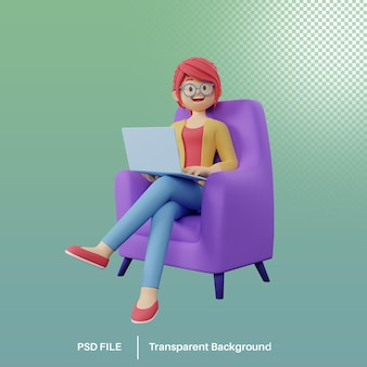 3d render of cartoon girl character working on a laptop