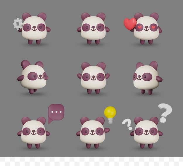 3d 렌더링 만화 팬더 포즈와 설정