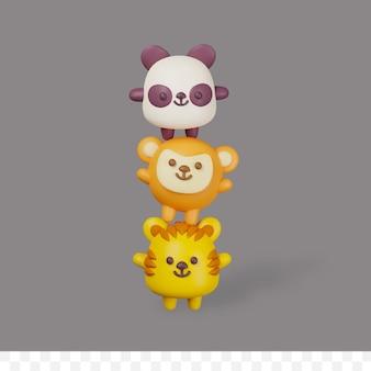 3d визуализация мультяшный тигр, панда и обезьяна, сложенные вертикально