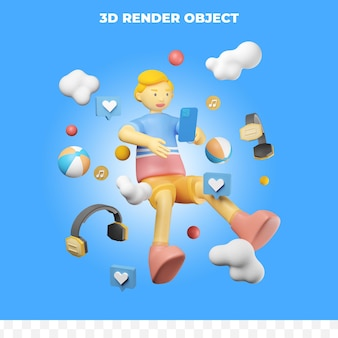 スマートフォンやその他のオブジェクトで飛んでいる3dレンダリングキャラクター