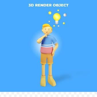 3d 렌더링 캐릭터는 생각하고 아이디어를 가지고 있습니다.