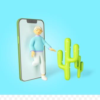 3d визуализация персонажа, выходящего из телефона