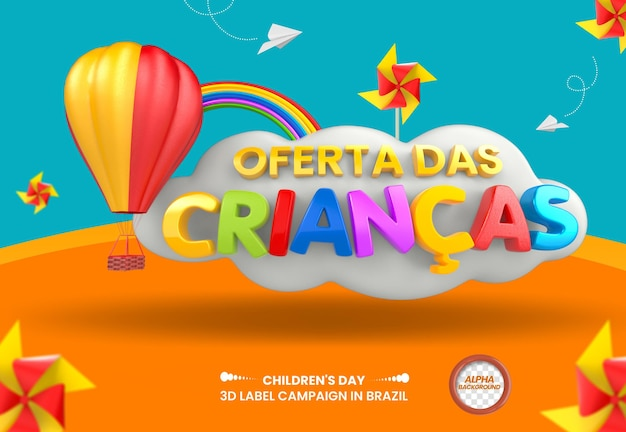 3d render childrens day offer with hot air balloon for composition in brazil design in portuguese