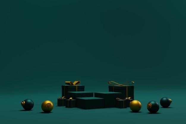 製品プレゼンテーションのための表彰台シーンでクリスマスの背景をレンダリングする3d
