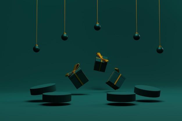 3d визуализация новогодний фон с подиумом