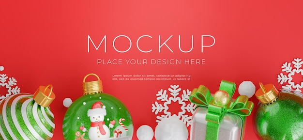 3d render of christmas ball with merry christmas concept for your product display,red background